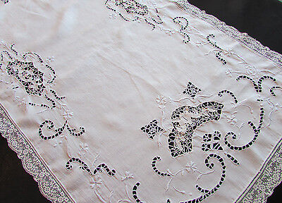 Vintage / Antique White Dresser Scarf / Table Runner Embroidered Lace Inserts