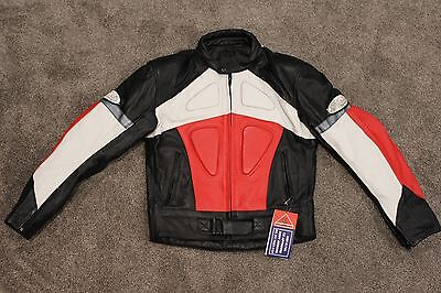 Infinit Sports Small Leather Jacket Armored Padded Motorcycle White Black Red
