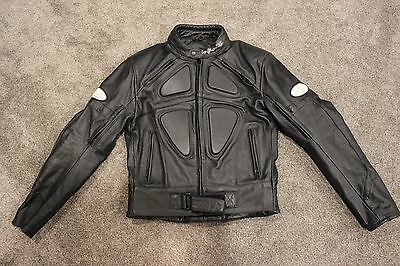 Infinit Sports Small Leather Jacket Armored Padded Motorcycle Black