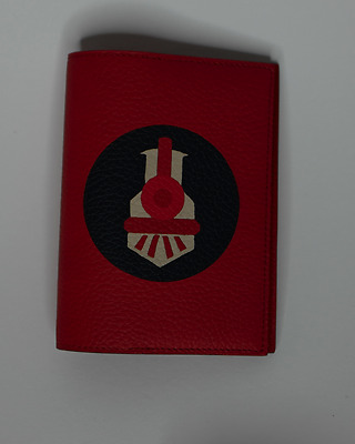 MOYNAT Red Leather Marquetry Pharrell Williams Passport Holder NWT