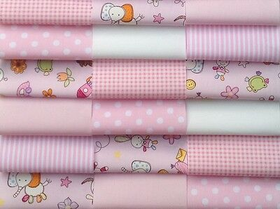 """fabric patchwork squares 30 X 4"""" (10cm) cotton quilting craft baby girl pink 8R"""