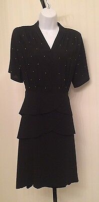 "vintage 1940's dress, black crepe with studs, 24"" waist"