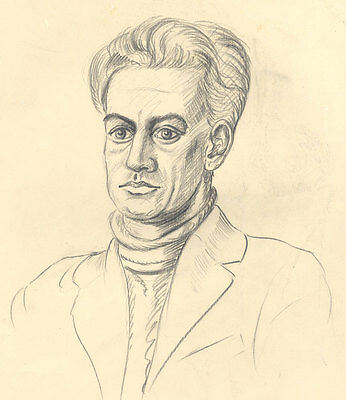E. Gaston Longney - Mid 20th Century Graphite Drawing, Man in Turtle Neck