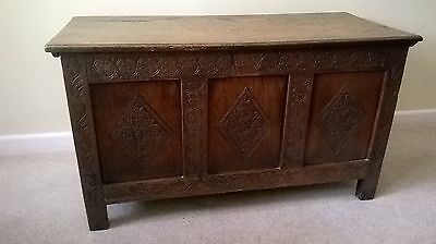 Antique carved oak  three panel chest coffer chest c1700