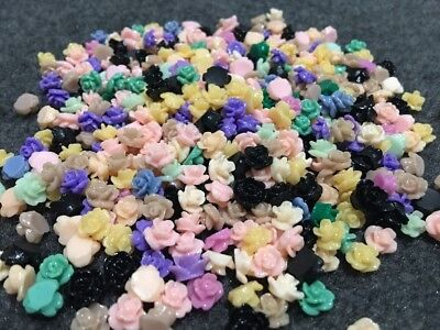 50pcs 8mm Mix Colour Resin Rose Flower Flatback Appliques Craft Decorate Diy