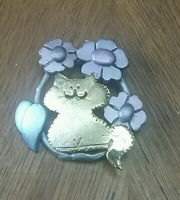 Cat And Purple Flowers Ultra Craft Brooch Pin