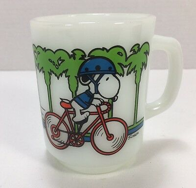 Vintage SNOOPY Cartoon 'Pedal Power' Coffee Mug (1958) Peanuts Cup