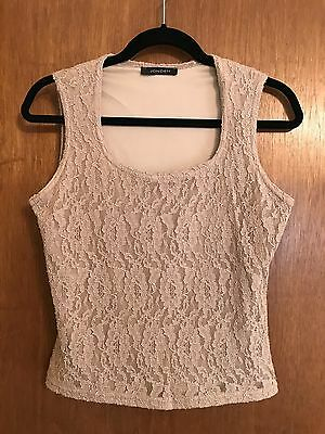 Women's ~ JONDEN BEIGE LACE & LINED TOP ~ Made In USA ~ Size LARGE