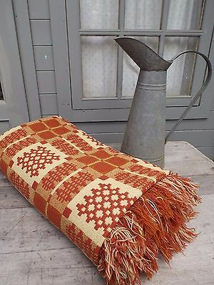 Vintage Welsh Tapestry Wool Blanket Beautiful 91 x 91 inches large