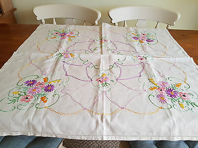 "Vintage Hand  Embroidered Linen Tablecloth 33"" By 32"""