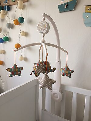 Mamas And Papas Elephant Musical Baby Mobile, Cot Mobile,