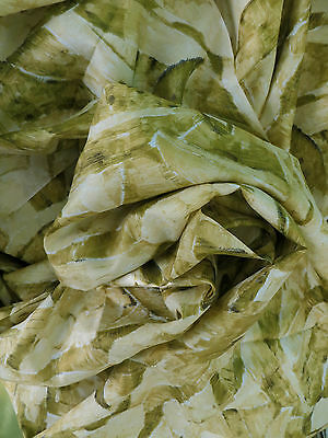 VINTAGE Antique SILK 3.5 YARDS Leaves ABSTRACT Greens Yellows Chartreuse FABRIC
