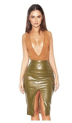 House Of Cb Tan Mesh Wrap Over Bodysuit Size Small 8-10