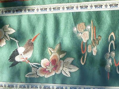 CHINESE ASIAN SILK EMBROIDERY Vintage PANEL - Bird on Branch FRAMED