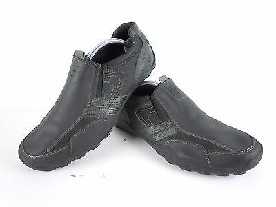 Mens Skechers Black Leather Slip On Loafers Fashion Sneakers Size 10.5 D