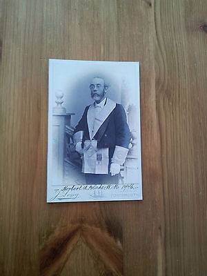 Antique Masonic Cabinet Photograph (Signed) Of Herbert A Blake C 1900.