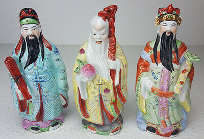 """Chinese Elder Figures Set 3 Porcelain 10"""" Tall Sanxing Health Happiness Wealth"""