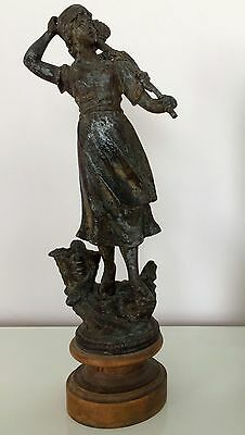 Antique Large Victorian French Spelter Fisherwoman Figure on Wood Base 15""