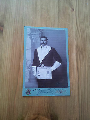 Antique Masonic Cabinet Photograph (Signed) Of J Hennessy C 1900
