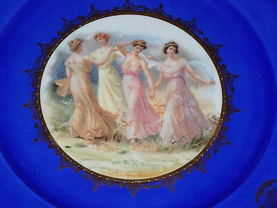 W. Germany Porcelain Plate Dancing Ladies Cobalt Gold Beehive Shield Mark 1930's