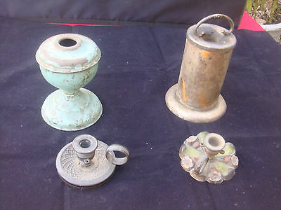 Antique /vintage Metal Candle Parts Oil Lamp A Project For Restoree Or Collector