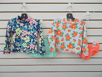 Toddler Girls Carter's 2pc Floral Long Sleeved Swim Sets Size 3T