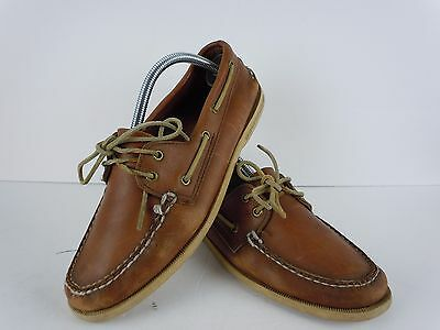 Mens Sperry Top-Sider Distressed Brown Leather Boat Shoes Size 10 M