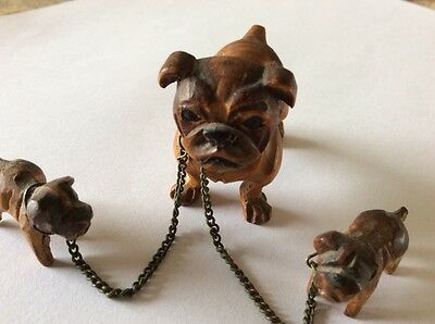 Vintage Carved Wood English Bulldog Dogs, Mom & 2 Pups Chained Together