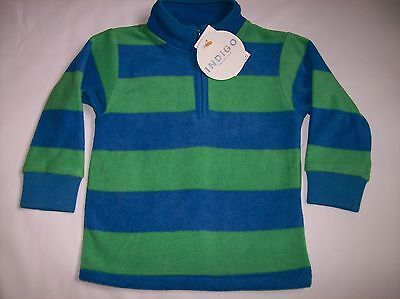 BNWT Boys Ex M&S Indigo Blue & Green Stripe Fleece Top Ages 12-18 & 18-24 Months