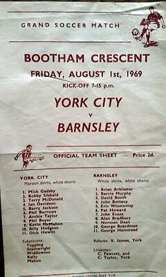 York City V Barnsley 1/8/1969 Friendly