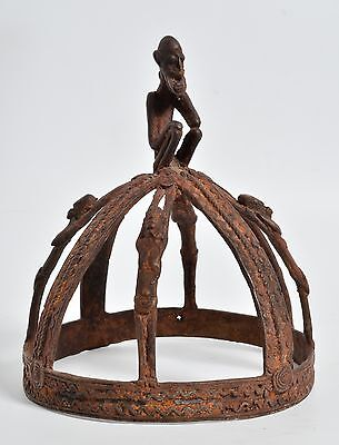 African DOGON Crown Tribal art, Bronze, Copper alloy, 4 section, figures decor