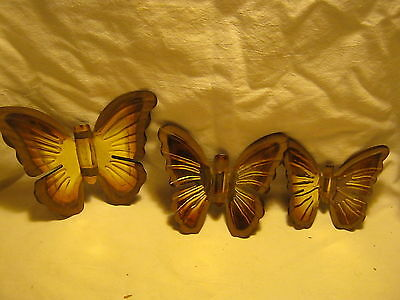 3 PC Vintage Homco/Home Interiors Metal Butterfly Wall Plaques