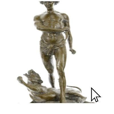 Bronze Sculpture Youth And Leopard By Loys Potet Semi Nude Sculpture Statue