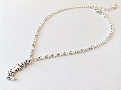 Silver Curb Chain With Mermaid Charm Dangle Anklet / Ankle Bracelet