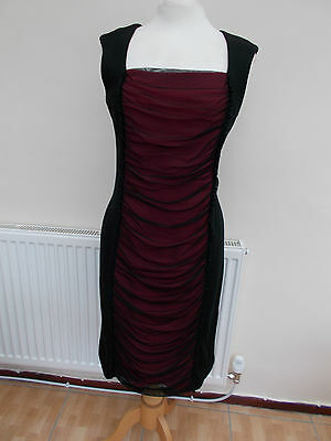ladies fitted dress made by roman uk size 14 black / red