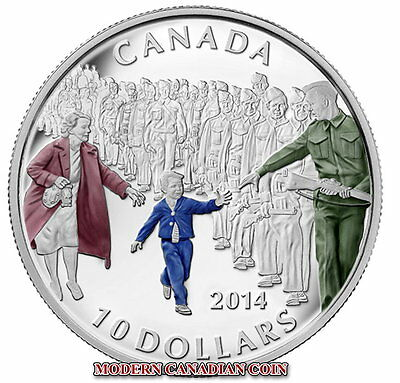 """Canada $10 1/2 Oz Fine Silver Coin- """"Wait For Me, Daddy"""" - 2014"""