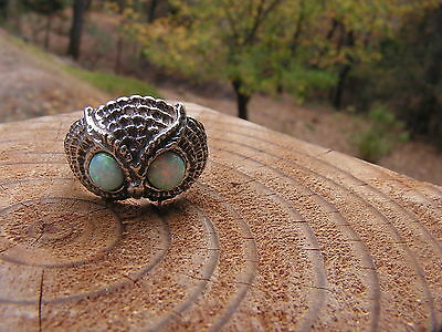 Sterling Silver Owl Ring With Opal Eyes In Sizes 4-13