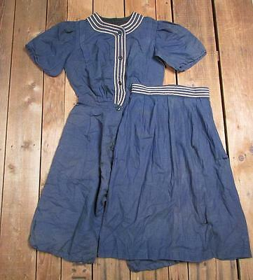 Vintage Antique Womens Blue Bathing Suit 2 Piece Swimsuit early 1900's Victorian