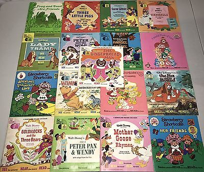 Lot of 17 Vintage See Hear & Read Books and Record Set Disney Care Bears