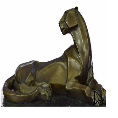 Handcrafted Henry Moore Mountain Lion Bronze Sculpture Statue Figurine Q