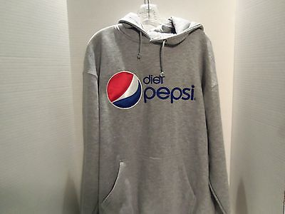 Vintage Diet Pepsi Logo Promo Embroidered Long Sleeve Pocket Hoodie-Xl-Very Rare