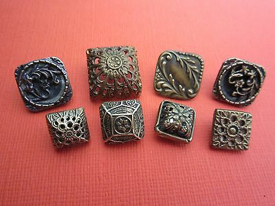 Group of antique brass buttons - all SQUARE -- twinkles, openwork, Victorian