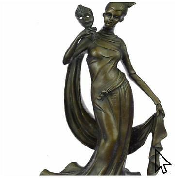 Bronze Sculpture 1920 Style Girl Holding A Mask By Moreau Sculpture Statue