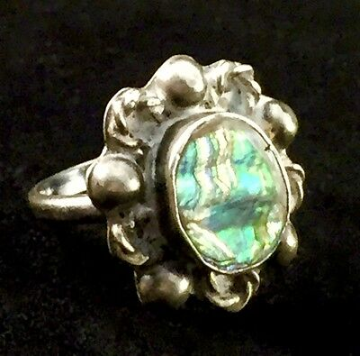 Mexican Sterling Silver Abalone Ring with Eagle 2 Stamp (Sz 6) A118
