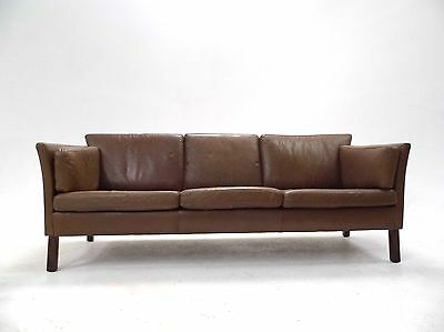 Vintage Danish Olive Brown Leather 3 Seater Sofa Midcentury 1960s