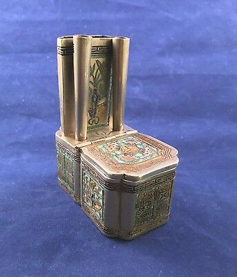 Antique Paktong & Enamel Chinese Tobacco Box (Not for Opium)