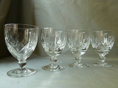 4 Vintage Royal Brierley Winchester Cut Water/Wine Glasses, signed