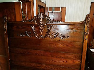 Antique Carved Mahogany Full Sized Bed With Rails