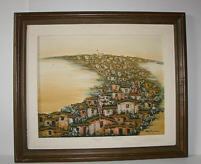 Vintage Framed Oil Painting on Canvas - Oriental City/Town - Signed Arimizu