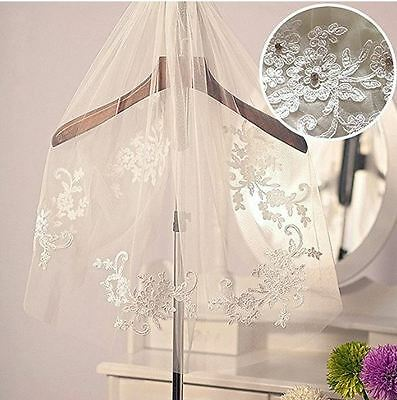 Ivory Bridal Veil 1 Tier Short With Crystal Beads Lace Appliques